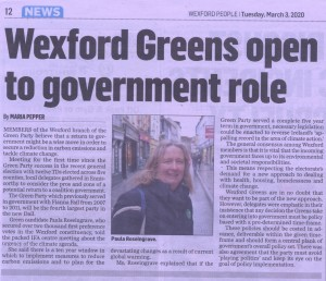 Wexford Greens open to government role